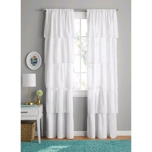 NIP Your Zone Set of (2) 84-inch Ruffled Curtains